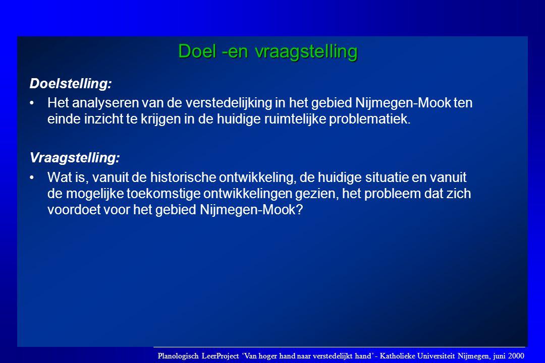 Doel -en vraagstelling Doelstelling: •Het analyseren van de verstedelijking in het gebied Nijmegen-Mook ten einde inzicht te krijgen in de huidige rui