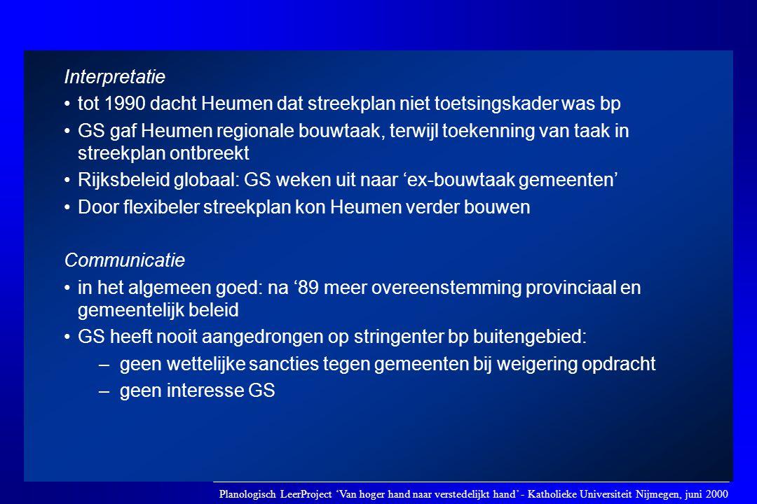 Interpretatie •tot 1990 dacht Heumen dat streekplan niet toetsingskader was bp •GS gaf Heumen regionale bouwtaak, terwijl toekenning van taak in stree