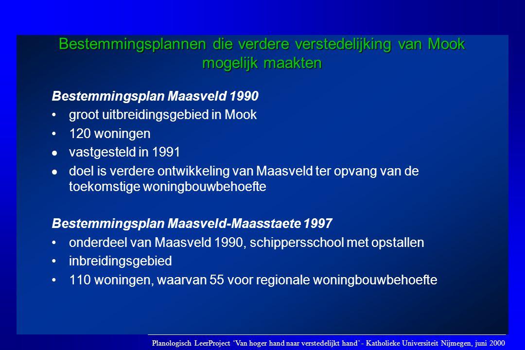 Bestemmingsplannen die verdere verstedelijking van Mook mogelijk maakten Bestemmingsplan Maasveld 1990 •groot uitbreidingsgebied in Mook •120 woningen