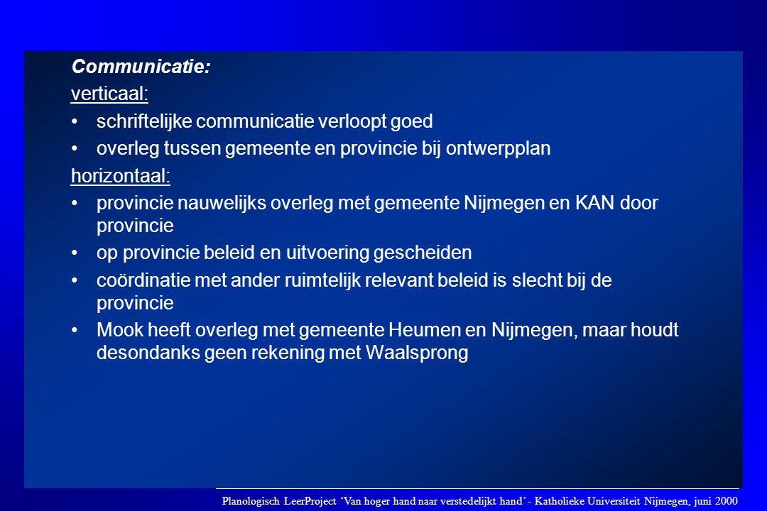 Communicatie: verticaal: •schriftelijke communicatie verloopt goed •overleg tussen gemeente en provincie bij ontwerpplan horizontaal: •provincie nauwe