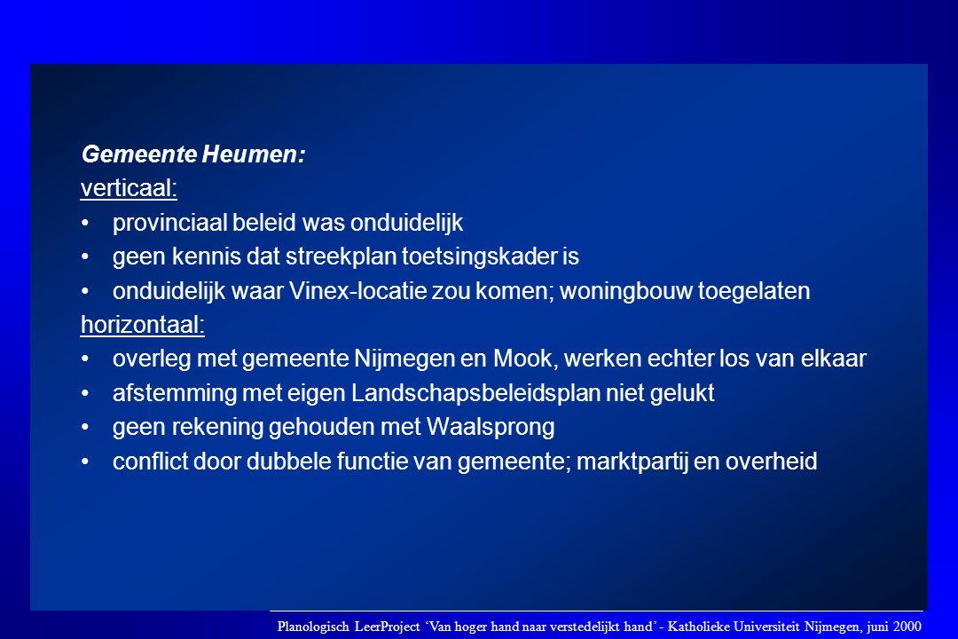 Gemeente Heumen: verticaal: •provinciaal beleid was onduidelijk •geen kennis dat streekplan toetsingskader is •onduidelijk waar Vinex-locatie zou kome