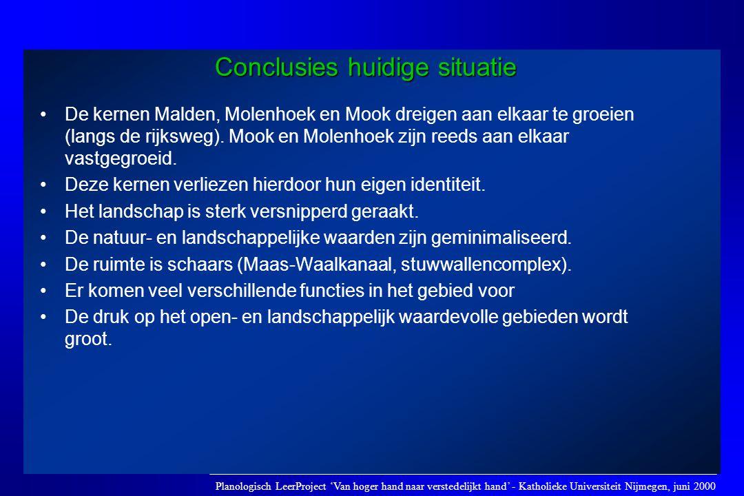 Conclusies huidige situatie •De kernen Malden, Molenhoek en Mook dreigen aan elkaar te groeien (langs de rijksweg). Mook en Molenhoek zijn reeds aan e