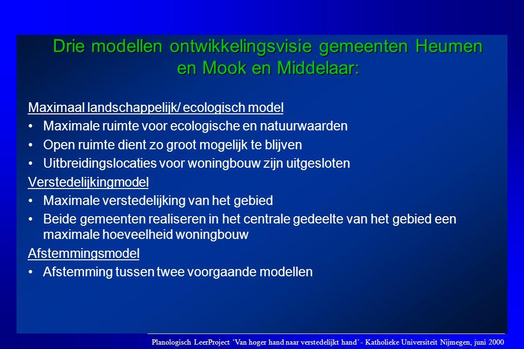 Maximaal landschappelijk/ ecologisch model •Maximale ruimte voor ecologische en natuurwaarden •Open ruimte dient zo groot mogelijk te blijven •Uitbrei