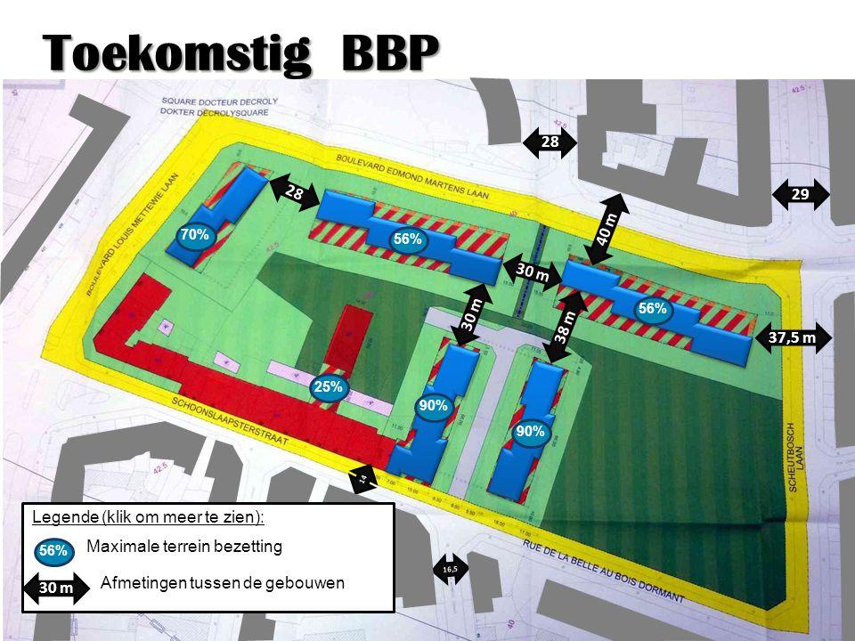 Toekomstig BBP 38 m 30 m 40 m 16,5 14 28 29 37,5 m 30 m 25% 56% 70% 90% 56% Maximale terrein bezetting 30 m Legende (klik om meer te zien): Afmetingen tussen de gebouwen