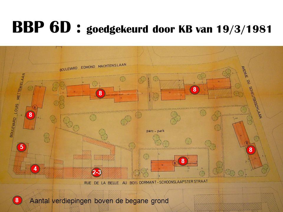 BBP 6D : goedgekeurd door KB van 19/3/1981 8 8 8 8 8 8 Aantal verdiepingen boven de begane grond 5 4 2-3