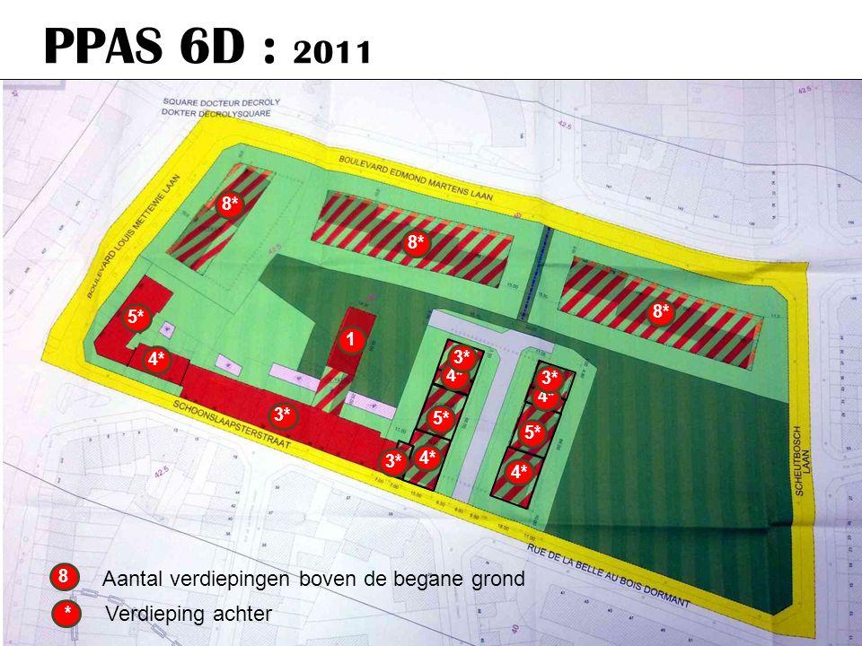 PPAS 6D : 2011 8* 5* 4* * Verdieping achter 5* 4* 3* 5* 4* 3* 1 4* 3* 8 Aantal verdiepingen boven de begane grond