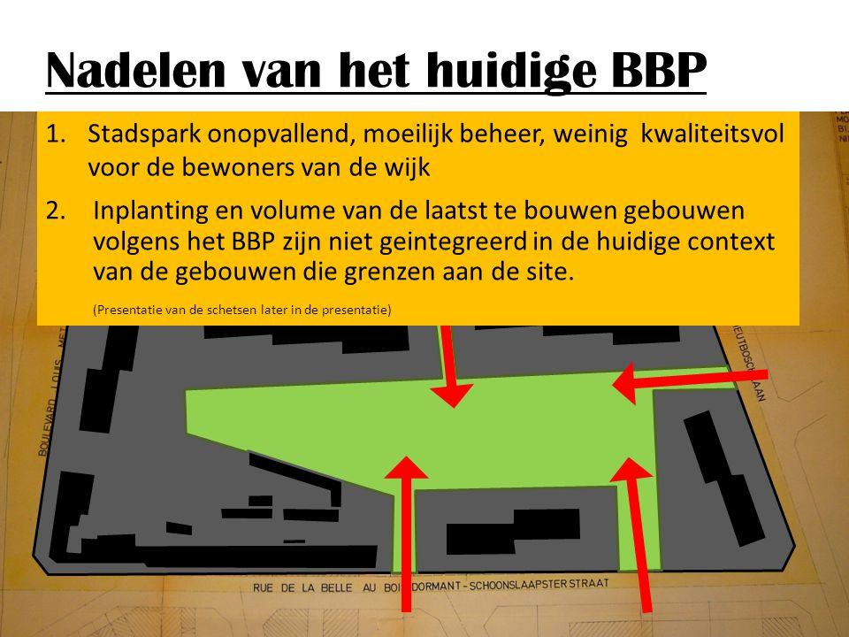 Nadelen van het huidige BBP 1.Stadspark onopvallend, moeilijk beheer, weinig kwaliteitsvol voor de bewoners van de wijk 2.Inplanting en volume van de laatst te bouwen gebouwen volgens het BBP zijn niet geintegreerd in de huidige context van de gebouwen die grenzen aan de site.