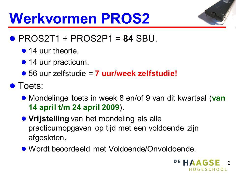 2 Werkvormen PROS2  PROS2T1 + PROS2P1 = 84 SBU.  14 uur theorie.  14 uur practicum.  56 uur zelfstudie = 7 uur/week zelfstudie!  Toets:  Mondeli