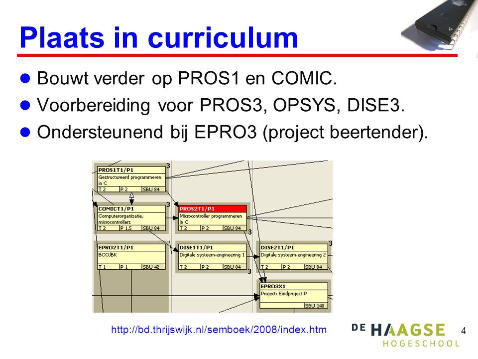 4 Plaats in curriculum  Bouwt verder op PROS1 en COMIC.  Voorbereiding voor PROS3, OPSYS, DISE3.  Ondersteunend bij EPRO3 (project beertender). htt
