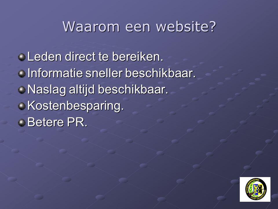 Waarom een website? Leden direct te bereiken. Informatie sneller beschikbaar. Naslag altijd beschikbaar. Kostenbesparing. Betere PR.