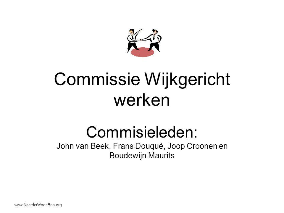Commissie Wijkgericht werken Commisieleden: John van Beek, Frans Douqué, Joop Croonen en Boudewijn Maurits www.NaarderWoonBos.org