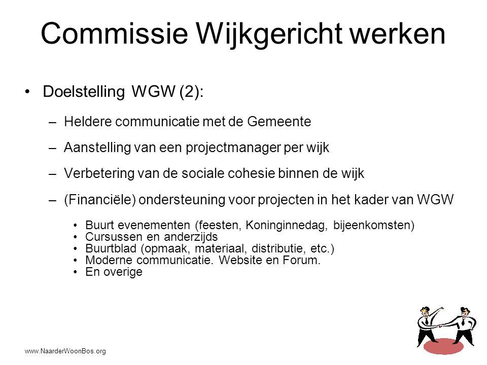 www.NaarderWoonBos.org Commissie Wijkgericht werken •Doelstelling WGW (2): –Heldere communicatie met de Gemeente –Aanstelling van een projectmanager per wijk –Verbetering van de sociale cohesie binnen de wijk –(Financiële) ondersteuning voor projecten in het kader van WGW •Buurt evenementen (feesten, Koninginnedag, bijeenkomsten) •Cursussen en anderzijds •Buurtblad (opmaak, materiaal, distributie, etc.) •Moderne communicatie.