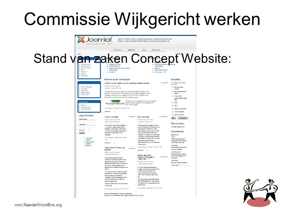 www.NaarderWoonBos.org Commissie Wijkgericht werken Stand van zaken Concept Website:
