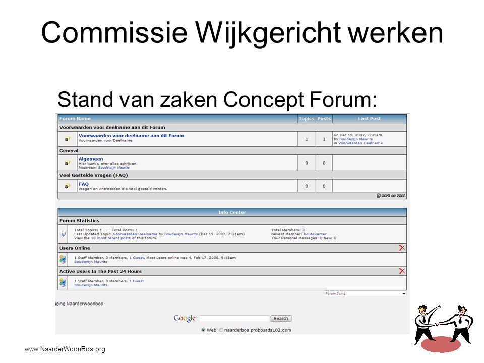 www.NaarderWoonBos.org Commissie Wijkgericht werken Stand van zaken Concept Forum: