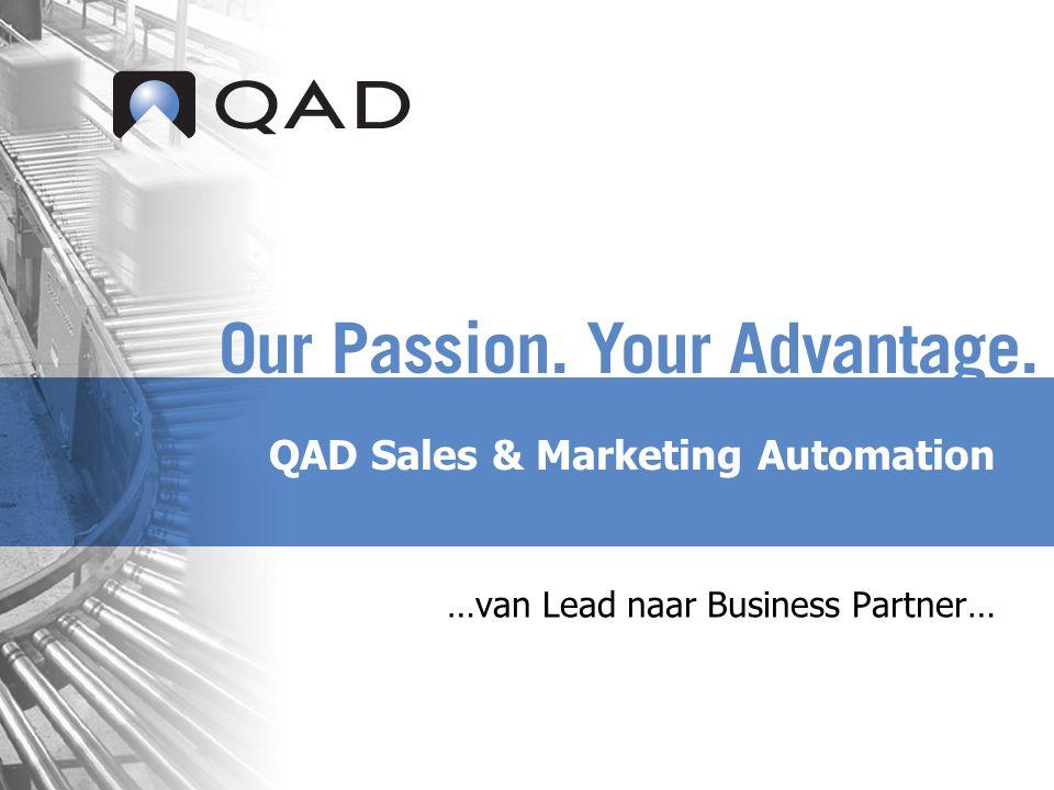 QAD Proprietary Specifieke voordelen van QAD Sales and Marketing Automation  QAD standaard product met solide CRM functionaliteit  Internationale support  Standaardintegratie met QAD Enterprise Applications