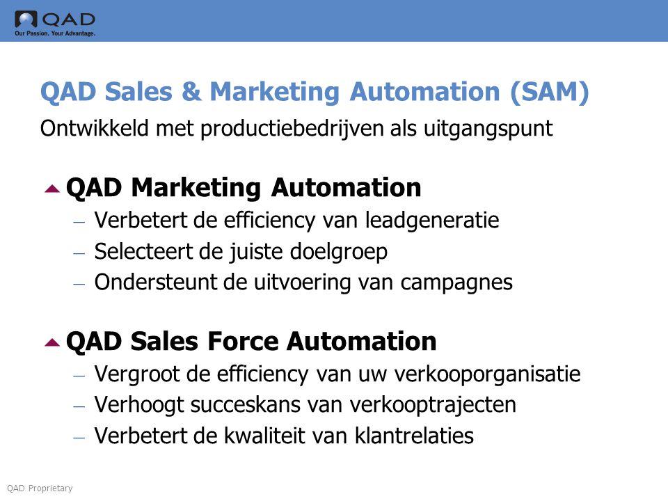 QAD Proprietary QAD Sales & Marketing Automation (SAM) Ontwikkeld met productiebedrijven als uitgangspunt  QAD Marketing Automation – Verbetert de ef