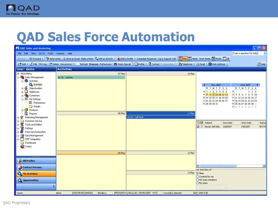QAD Proprietary QAD Sales Force Automation