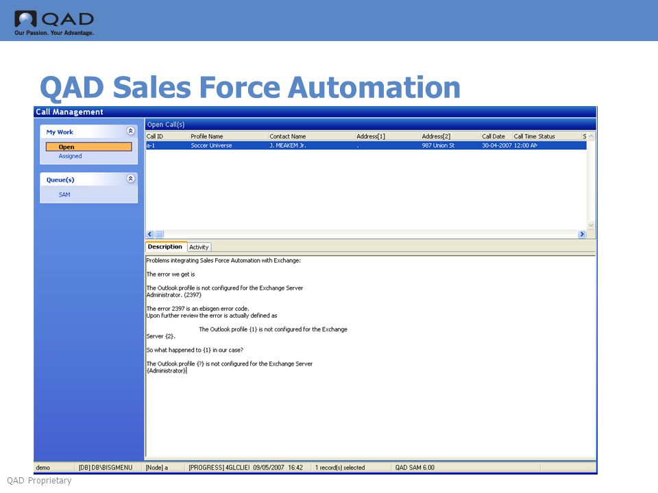QAD Proprietary QAD Sales Force Automation