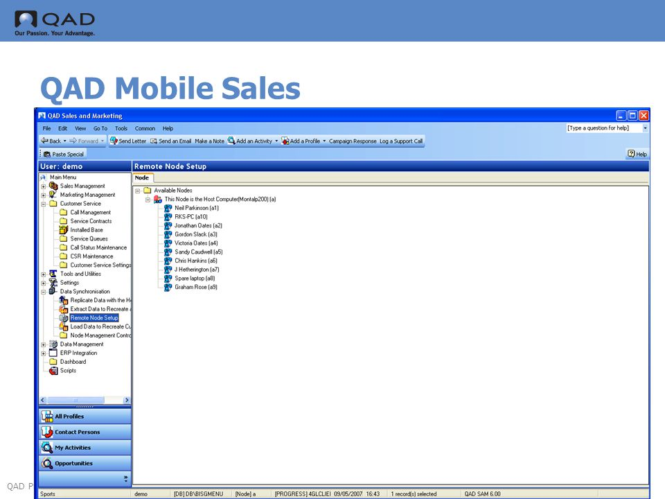 QAD Proprietary QAD Mobile Sales