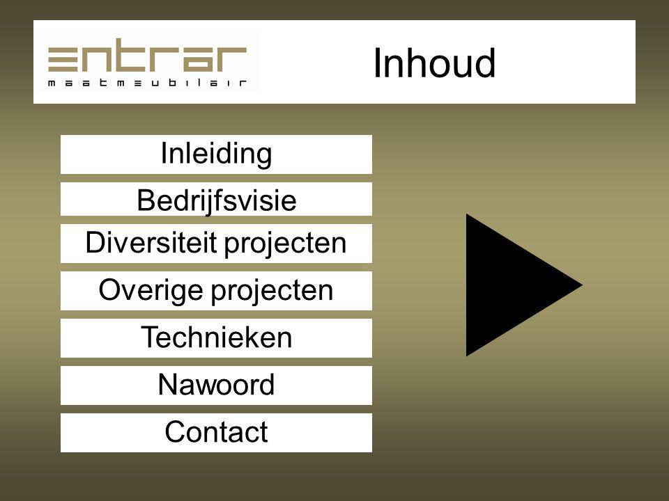 Inhoud Bedrijfsvisie Diversiteit projecten Overige projecten Technieken Nawoord Contact Inleiding