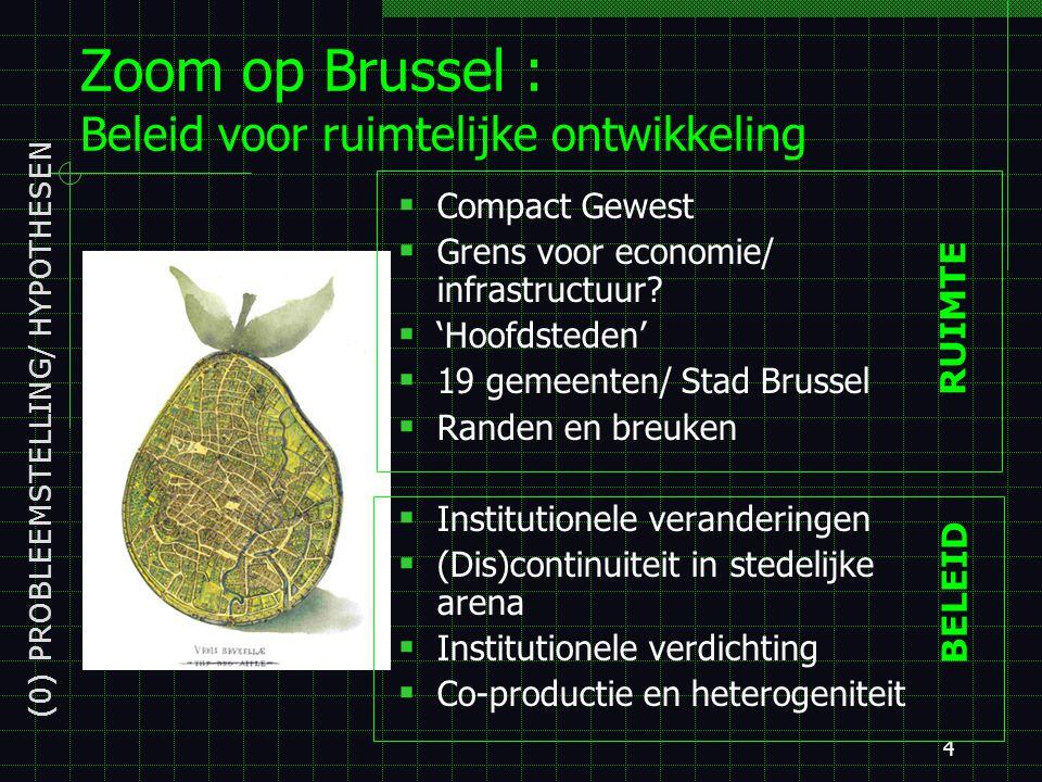 4 Zoom op Brussel : Beleid voor ruimtelijke ontwikkeling  Compact Gewest  Grens voor economie/ infrastructuur.