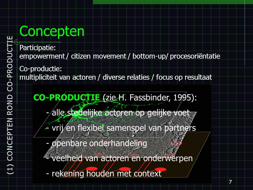 7 Concepten (1) CONCEPTEN ROND CO-PRODUCTIE Participatie: empowerment / citizen movement / bottom-up/ procesoriëntatie Co-productie: multipliciteit van actoren / diverse relaties / focus op resultaat CO-PRODUCTIE (zie H.