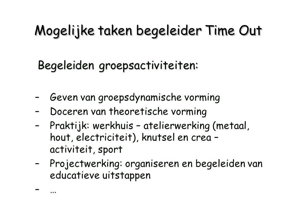 Mogelijke taken begeleider Time Out Begeleiden groepsactiviteiten: –Geven van groepsdynamische vorming –Doceren van theoretische vorming –Praktijk: we