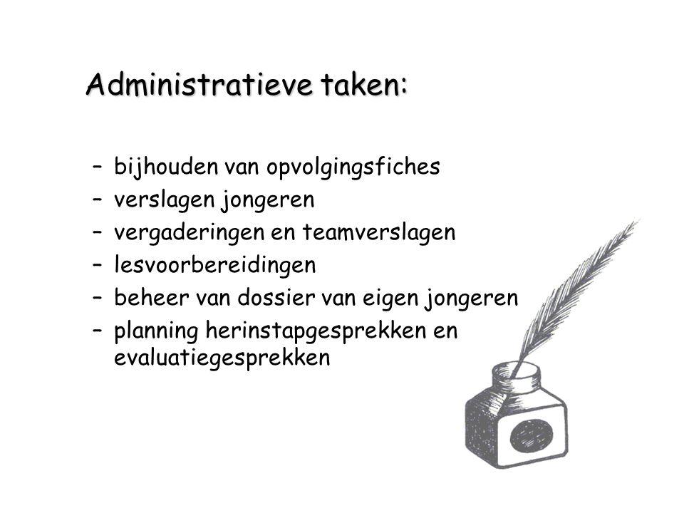 Administratieve taken: –bijhouden van opvolgingsfiches –verslagen jongeren –vergaderingen en teamverslagen –lesvoorbereidingen –beheer van dossier van