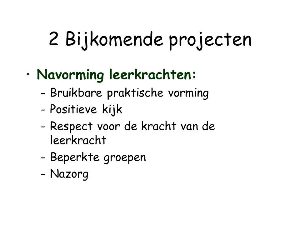 2 Bijkomende projecten •Navorming leerkrachten: -Bruikbare praktische vorming -Positieve kijk -Respect voor de kracht van de leerkracht -Beperkte groe
