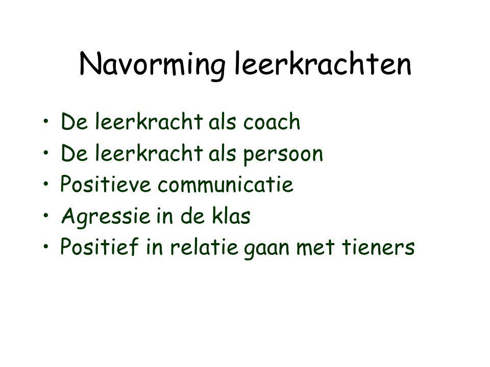 Navorming leerkrachten •De leerkracht als coach •De leerkracht als persoon •Positieve communicatie •Agressie in de klas •Positief in relatie gaan met