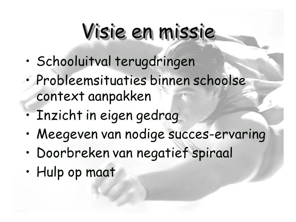 Visie en missie •Schooluitval terugdringen •Probleemsituaties binnen schoolse context aanpakken •Inzicht in eigen gedrag •Meegeven van nodige succes-e