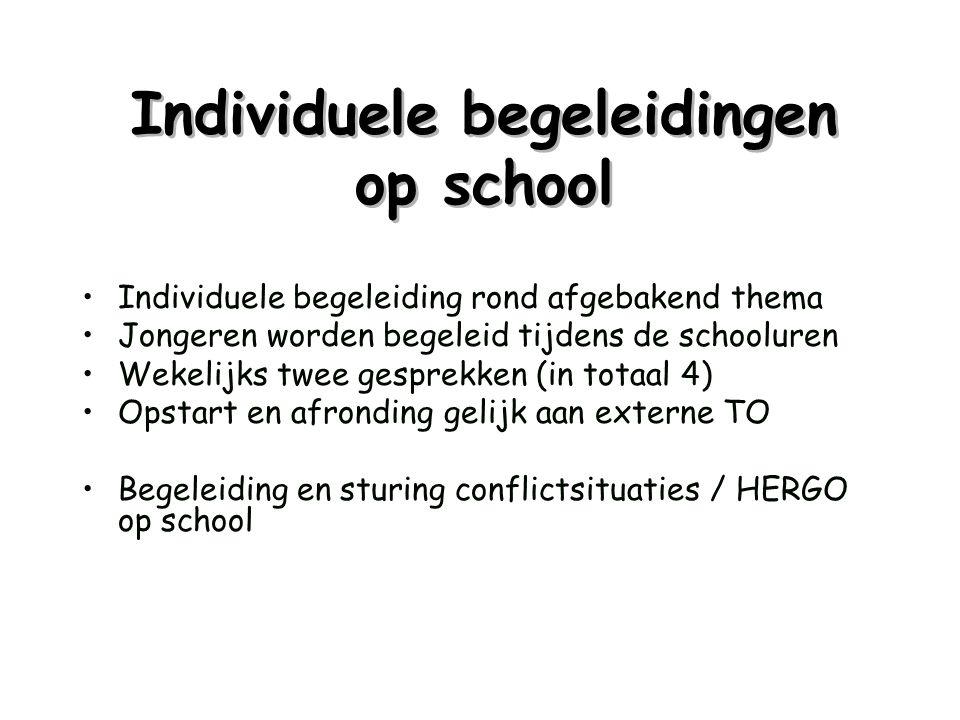 Individuele begeleidingen op school •Individuele begeleiding rond afgebakend thema •Jongeren worden begeleid tijdens de schooluren •Wekelijks twee ges