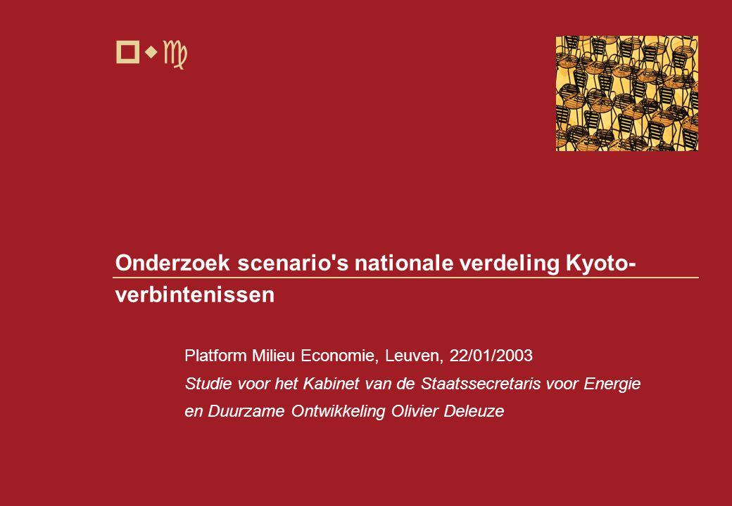 pwc Onderzoek scenario s nationale verdeling Kyoto- verbintenissen Platform Milieu Economie, Leuven, 22/01/2003 Studie voor het Kabinet van de Staatssecretaris voor Energie en Duurzame Ontwikkeling Olivier Deleuze