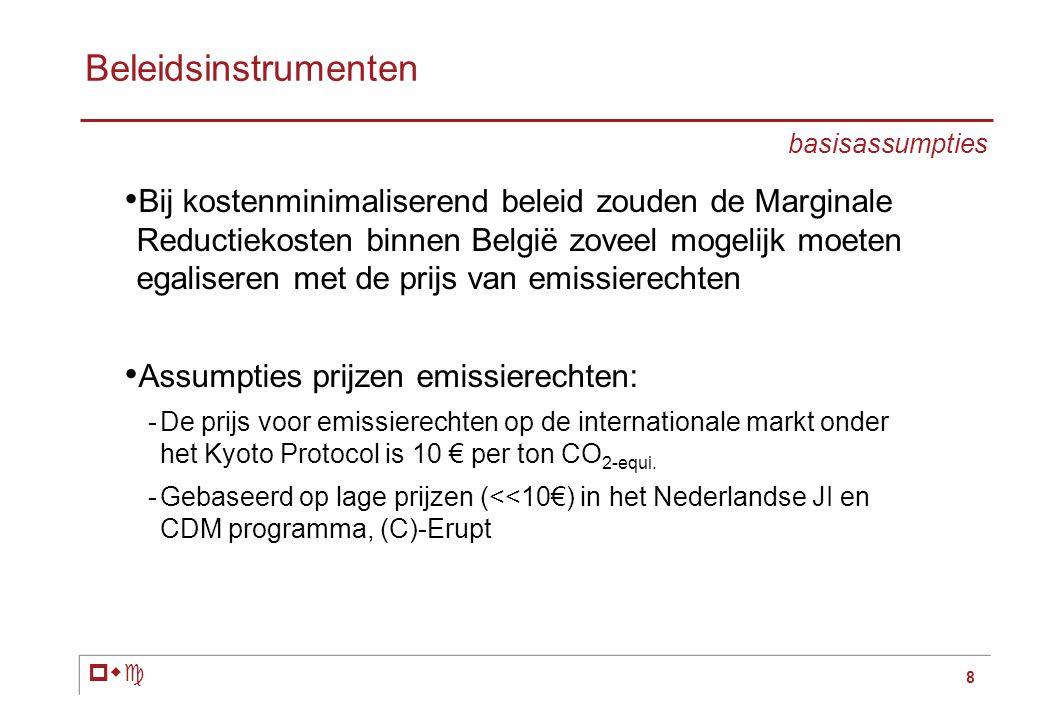 pwc 8 • Bij kostenminimaliserend beleid zouden de Marginale Reductiekosten binnen België zoveel mogelijk moeten egaliseren met de prijs van emissierechten • Assumpties prijzen emissierechten: -De prijs voor emissierechten op de internationale markt onder het Kyoto Protocol is 10 € per ton CO 2-equi.