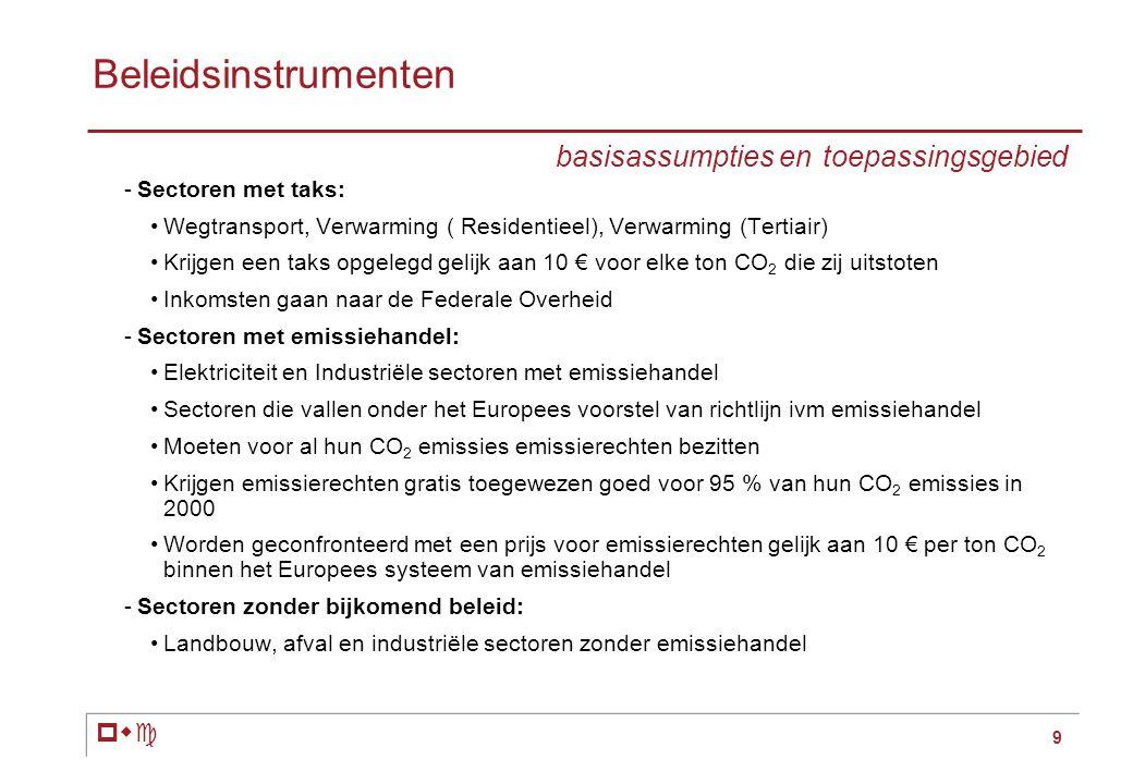 pwc 9 Beleidsinstrumenten basisassumpties en toepassingsgebied -Sectoren met taks: •Wegtransport, Verwarming ( Residentieel), Verwarming (Tertiair) •Krijgen een taks opgelegd gelijk aan 10 € voor elke ton CO 2 die zij uitstoten •Inkomsten gaan naar de Federale Overheid -Sectoren met emissiehandel: •Elektriciteit en Industriële sectoren met emissiehandel •Sectoren die vallen onder het Europees voorstel van richtlijn ivm emissiehandel •Moeten voor al hun CO 2 emissies emissierechten bezitten •Krijgen emissierechten gratis toegewezen goed voor 95 % van hun CO 2 emissies in 2000 •Worden geconfronteerd met een prijs voor emissierechten gelijk aan 10 € per ton CO 2 binnen het Europees systeem van emissiehandel -Sectoren zonder bijkomend beleid: •Landbouw, afval en industriële sectoren zonder emissiehandel