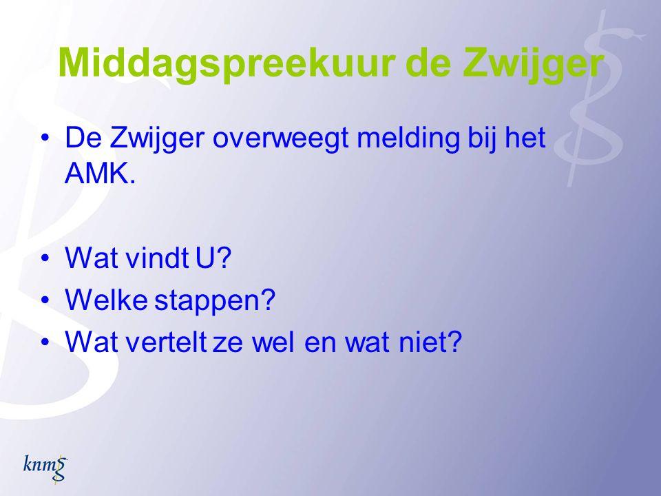 Middagspreekuur de Zwijger •De Zwijger overweegt melding bij het AMK.