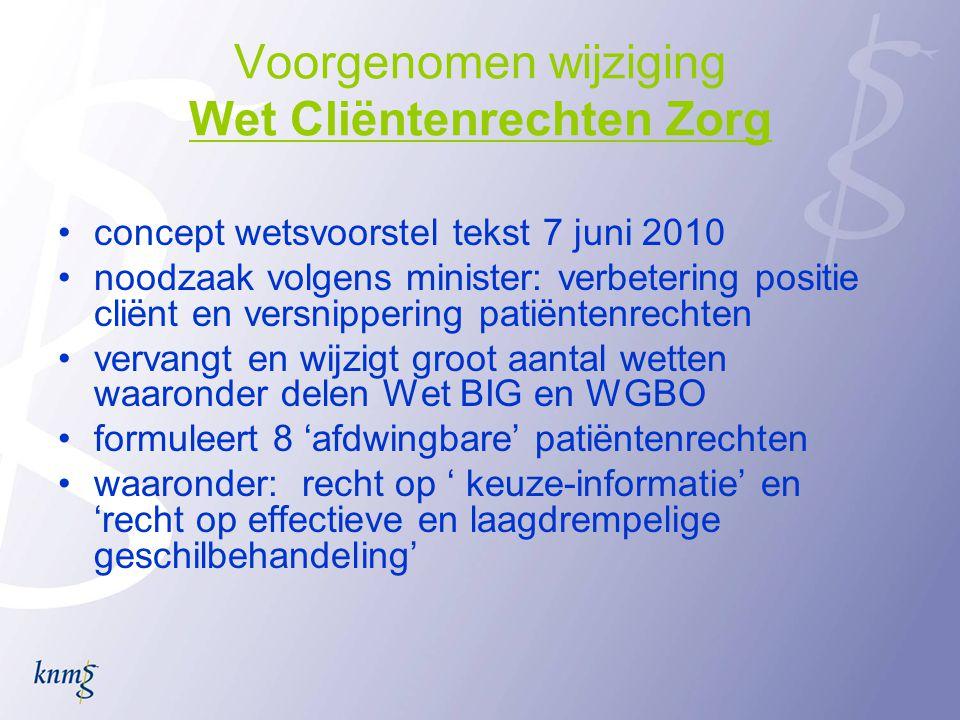 Voorgenomen wijziging Wet Cliëntenrechten Zorg •concept wetsvoorstel tekst 7 juni 2010 •noodzaak volgens minister: verbetering positie cliënt en versn