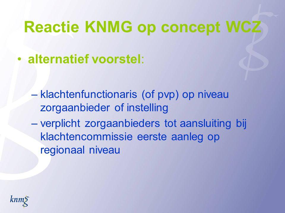 Reactie KNMG op concept WCZ •alternatief voorstel: –klachtenfunctionaris (of pvp) op niveau zorgaanbieder of instelling –verplicht zorgaanbieders tot