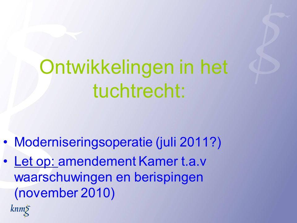 Ontwikkelingen in het tuchtrecht: •Moderniseringsoperatie (juli 2011?) •Let op: amendement Kamer t.a.v waarschuwingen en berispingen (november 2010)