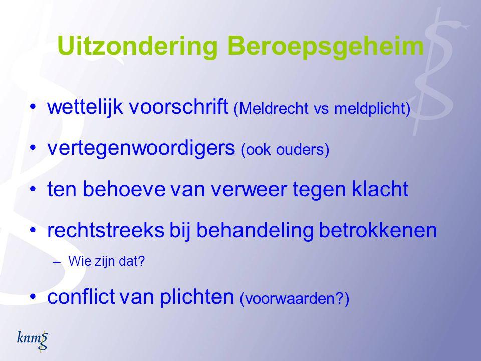 Groene Boekje KNMG •KNMG-richtlijnen inzake het omgaan met medische gegevens (2010): hoe - met inachtneming van het beroepsgeheim - artsen met medische gegevens moeten/mogen omgaan.