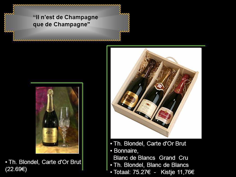 Champagne: Een prachtig geschenk Kist voor 1 fles champagne Rosé Th. Blondel met 2 glazen. (40.27€) 1 fles champagne Th. Blondel met pralines Godiva (