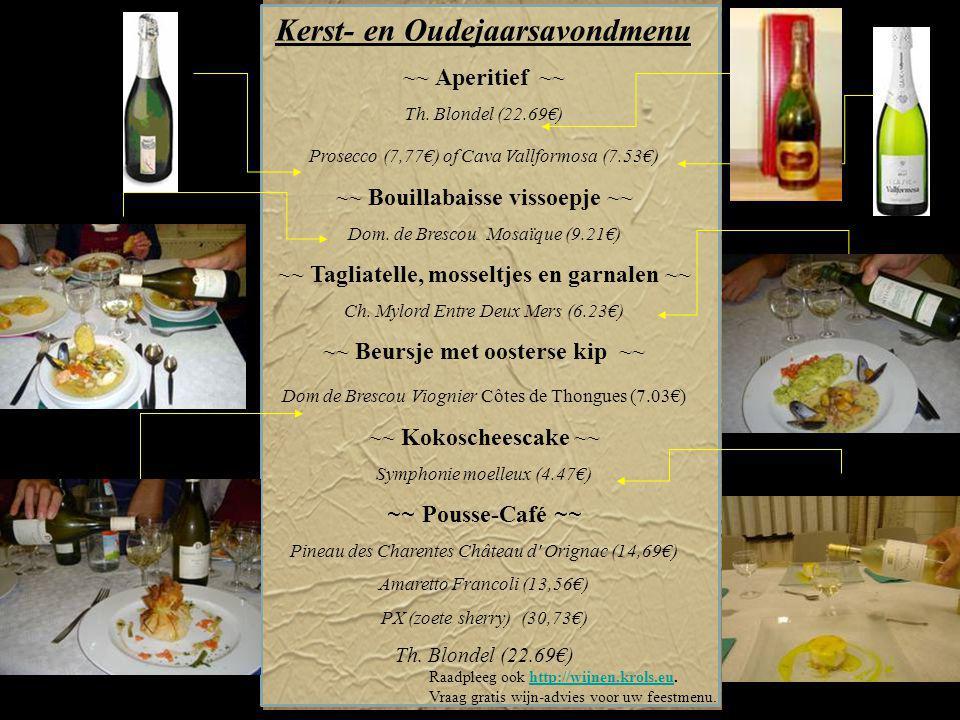 Wijn voor de gezellige feesten met familie en vrienden Een mooie selectie uitstekende wijnen : 5,98€ 14,12€ 9,21€ 13,56€ 18,88€ 8,53€ Rode wijn 5,41€