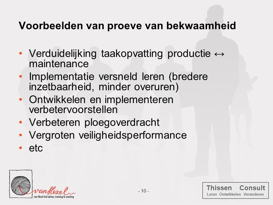 Thissen Consult Leren Ontwikkelen Veranderen - 10 - Voorbeelden van proeve van bekwaamheid •Verduidelijking taakopvatting productie ↔ maintenance •Imp