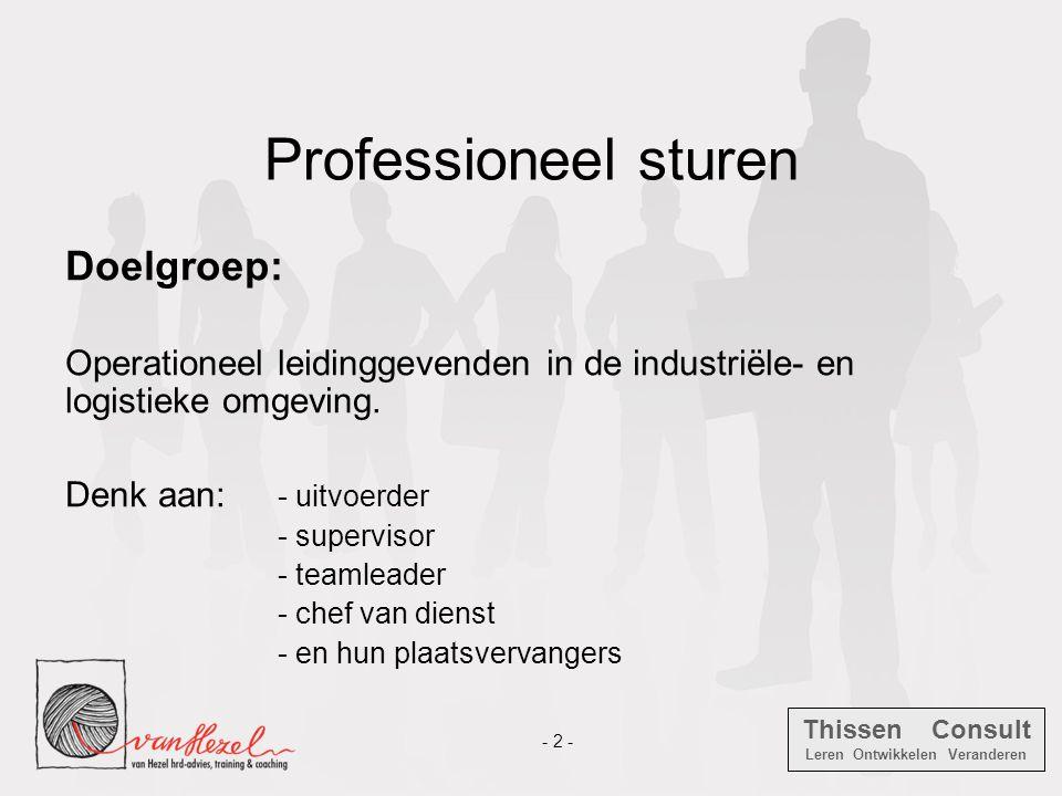 Thissen Consult Leren Ontwikkelen Veranderen - 2 - Professioneel sturen Doelgroep: Operationeel leidinggevenden in de industriële- en logistieke omgev