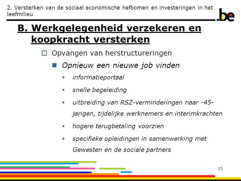 2. Versterken van de sociaal economische hefbomen en investeringen in het leefmilieu B. Werkgelegenheid verzekeren en koopkracht versterken  Opvangen