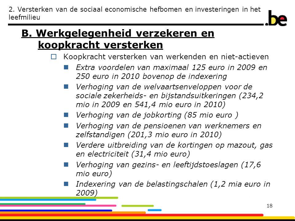 2. Versterken van de sociaal economische hefbomen en investeringen in het leefmilieu B. Werkgelegenheid verzekeren en koopkracht versterken  Koopkrac