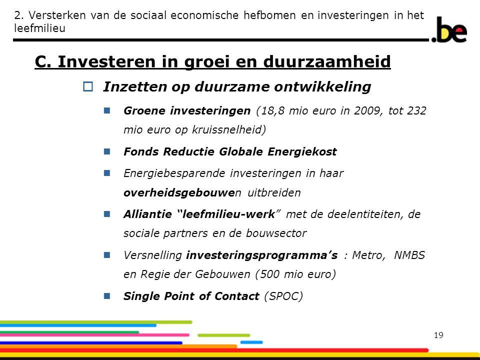 2. Versterken van de sociaal economische hefbomen en investeringen in het leefmilieu C. Investeren in groei en duurzaamheid  Inzetten op duurzame ont