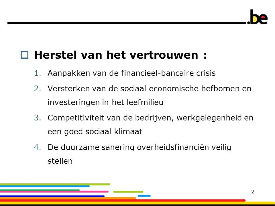  Herstel van het vertrouwen : 1.Aanpakken van de financieel-bancaire crisis 2.Versterken van de sociaal economische hefbomen en investeringen in het leefmilieu 3.Competitiviteit van de bedrijven, werkgelegenheid en een goed sociaal klimaat 4.De duurzame sanering overheidsfinanciën veilig stellen 2
