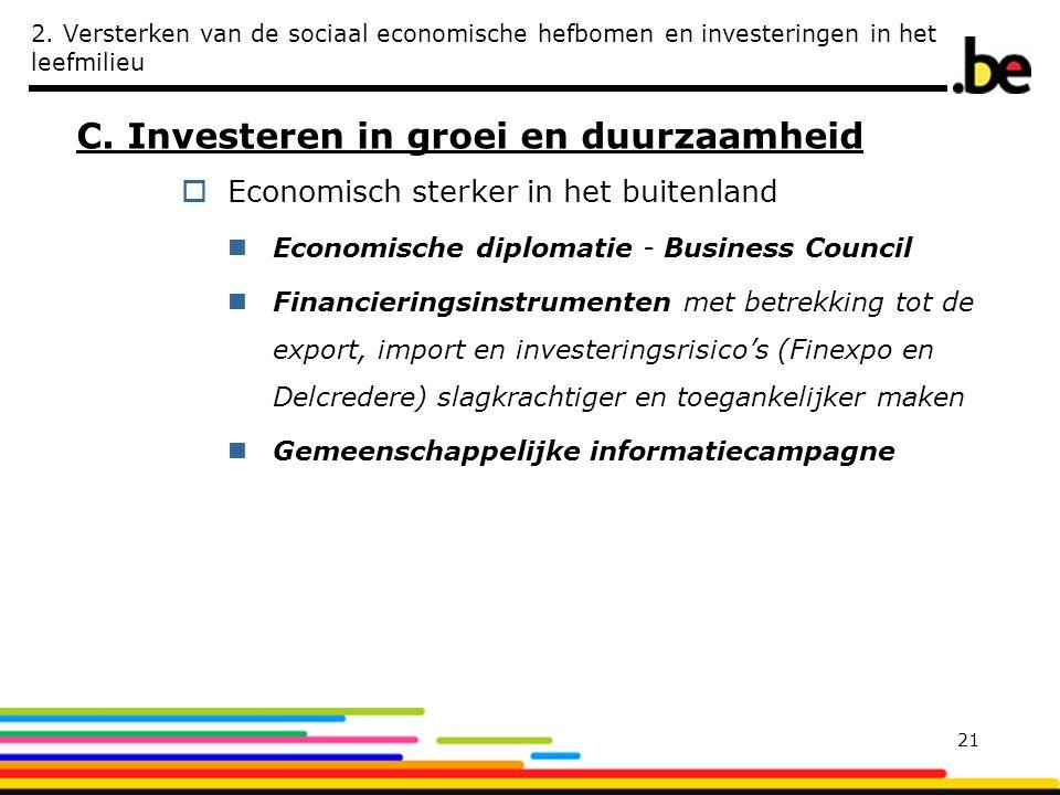 2. Versterken van de sociaal economische hefbomen en investeringen in het leefmilieu C. Investeren in groei en duurzaamheid  Economisch sterker in he