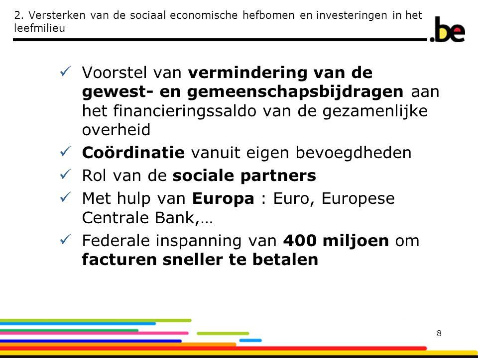 2. Versterken van de sociaal economische hefbomen en investeringen in het leefmilieu  Voorstel van vermindering van de gewest- en gemeenschapsbijdrag